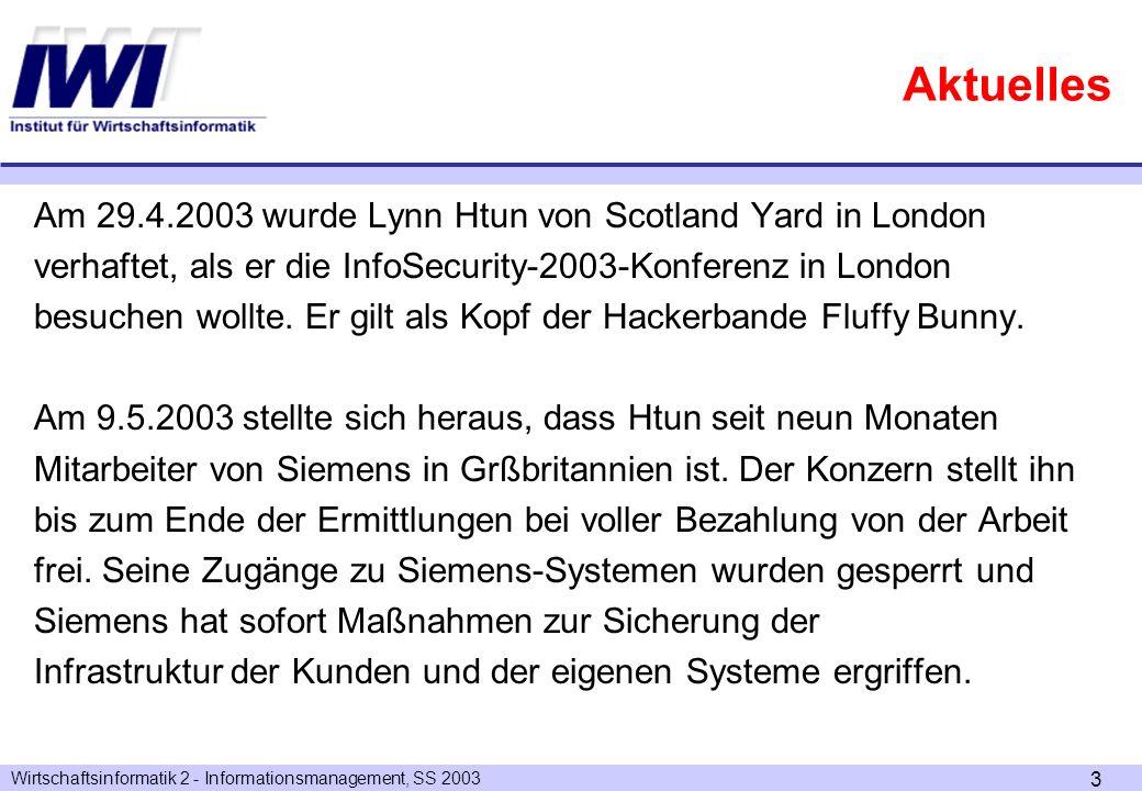 Wirtschaftsinformatik 2 - Informationsmanagement, SS 2003 4 Rekursiver Beziehungstyp ERM Zusammenfassung: welche Konstrukte haben wir kennen gelernt.
