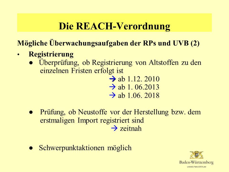 Die REACH-Verordnung Mögliche Überwachungsaufgaben der RPs und UVB (2) Registrierung Überprüfung, ob Registrierung von Altstoffen zu den einzelnen Fri