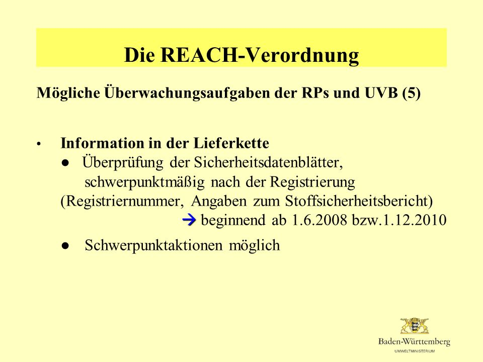 Die REACH-Verordnung Mögliche Überwachungsaufgaben der RPs und UVB (5) Information in der Lieferkette Überprüfung der Sicherheitsdatenblätter, schwerp
