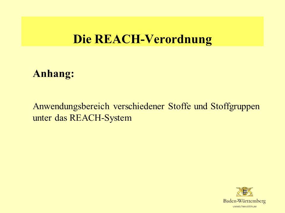 Die REACH-Verordnung Anhang: Anwendungsbereich verschiedener Stoffe und Stoffgruppen unter das REACH-System
