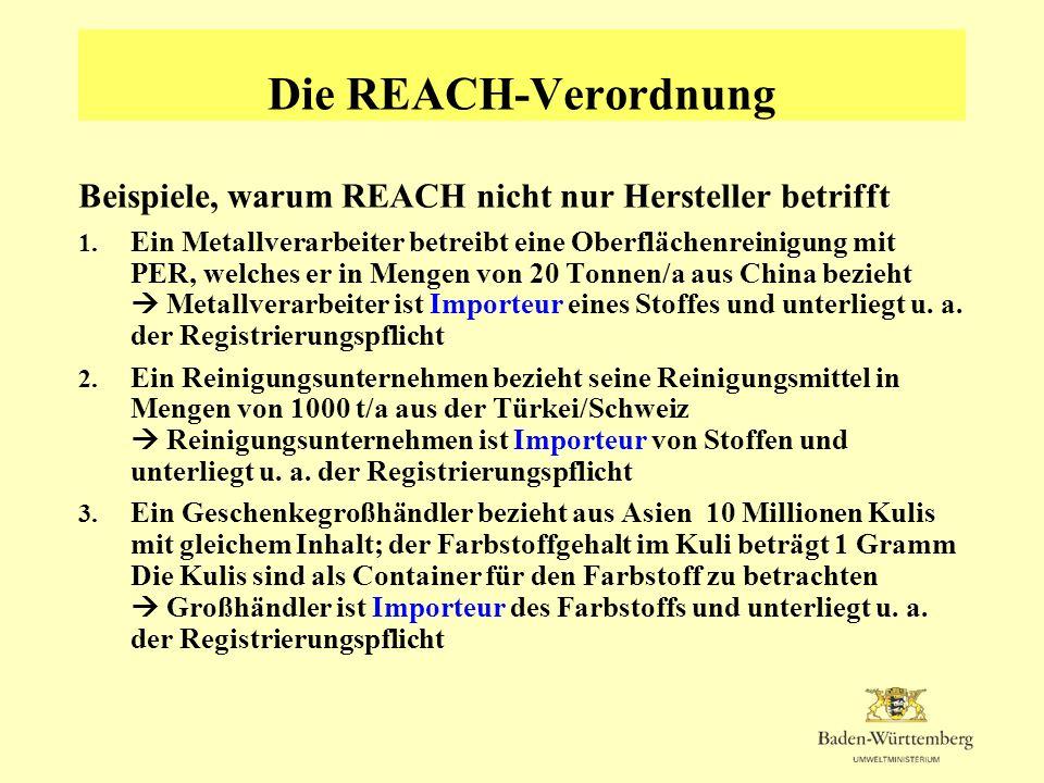 Die REACH-Verordnung Mögliche Überwachungsaufgaben der RPs und UVB (4) Beschränkungen Überprüfung, ob Herstellungs- Verwendungs- und Inverkehrbringungsbeschränkungen des Anhangs XVII beachtet werden ab 1.6.