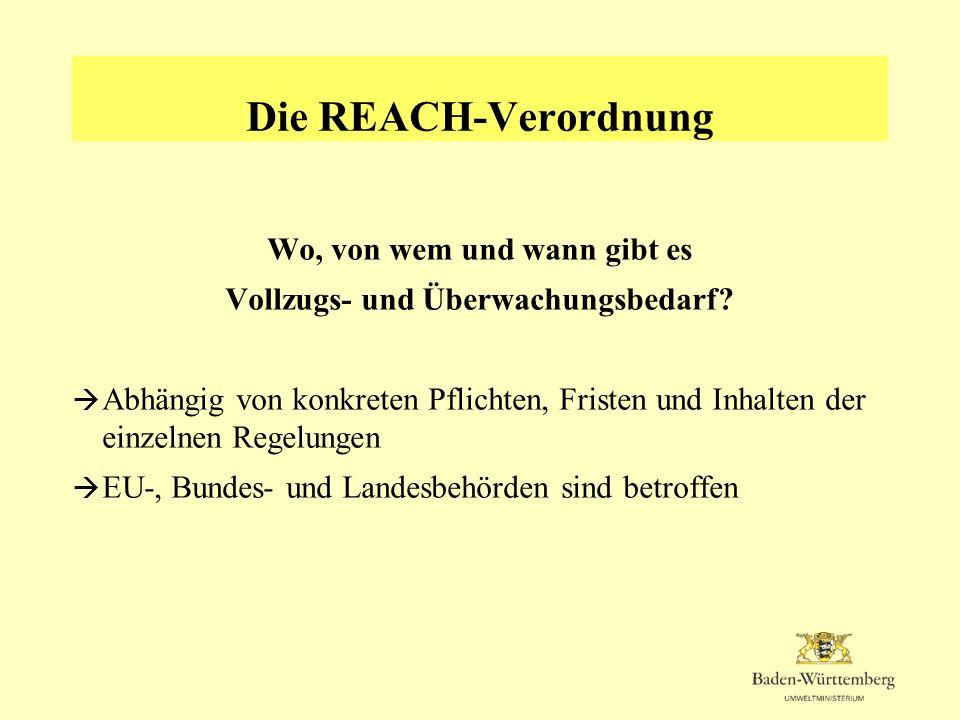 Die REACH-Verordnung Aufgaben der Behörden Kommission Entscheidungen über Zulassungsanträge und Beschränkungen Europäische Chemikalienagentur (ECHA) in Helsinki Annahme der Registrierungsunterlagen, Koordination des Vollzugs BMU Anpassung des nationalen Rechts; Verordnungen für den Vollzug; Regelungen für die Zusammenarbeit von Bund und Ländern BAuA (teilweise gemeinsam mit BfR, UBA und BAM) nationale Auskunftsstelle, nationale Bewertungsstelle, Knotenpunkt für die Entgegennahme der bei der ECHA vorhandenen Daten Länderbehörden in erster Linie verantwortlich für die Überwachung und den Vollzug