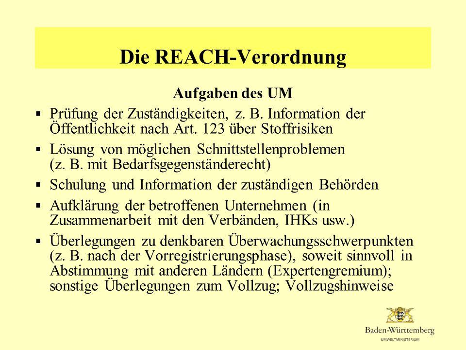 Die REACH-Verordnung Aufgaben der RPs und UVB Zuständig für die Überwachung und den Vollzug der materiellen Anforderungen Die dabei zu erfüllenden Aufgaben und Schwerpunkte sind abhängig von den konkreten Pflichten der einzelnen Akteure, den Fristen und Inhalten der einzelnen Regelungen