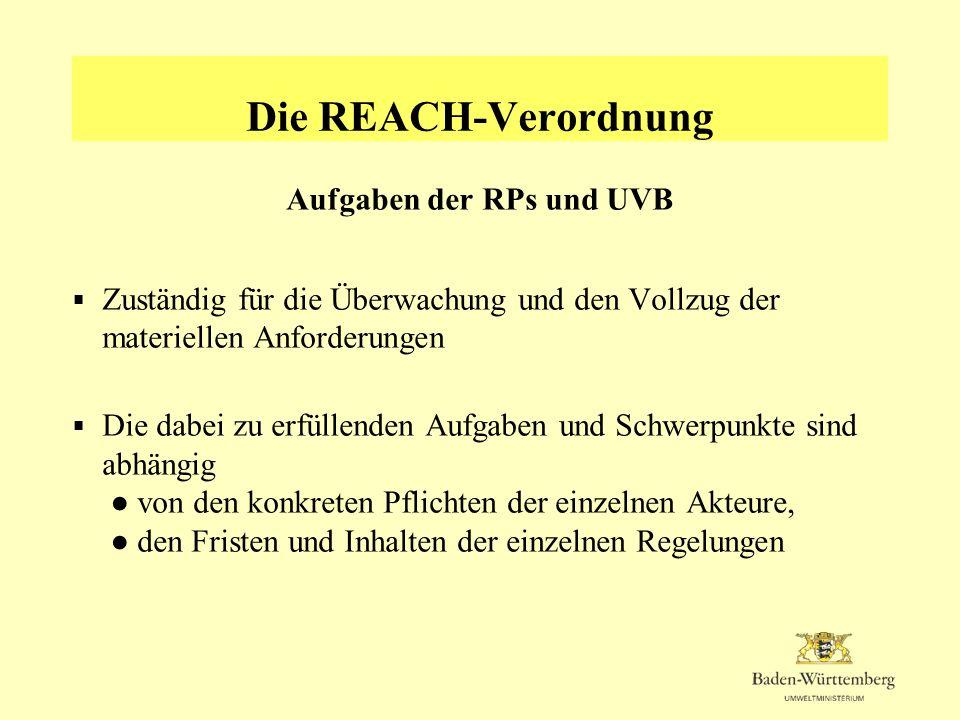 Die REACH-Verordnung Aufgaben der RPs und UVB Zuständig für die Überwachung und den Vollzug der materiellen Anforderungen Die dabei zu erfüllenden Auf