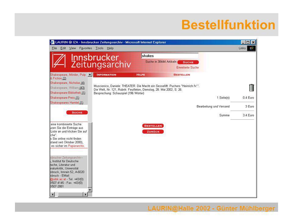 LAURIN@Halle 2002 - Günter Mühlberger Bestellfunktion