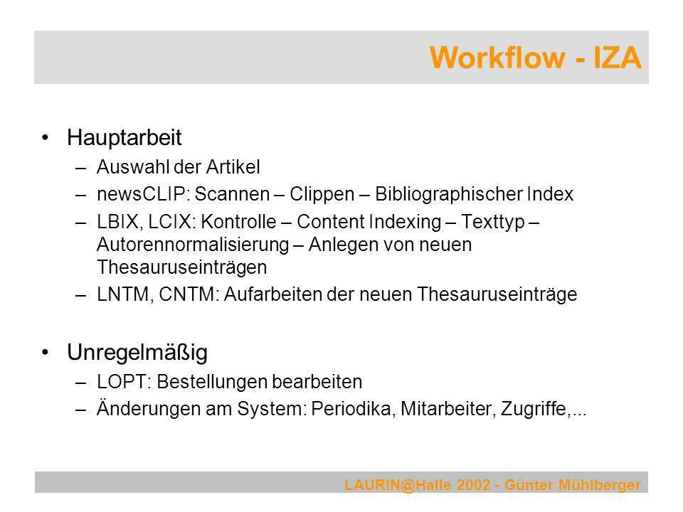 LAURIN@Halle 2002 - Günter Mühlberger Workflow - IZA Hauptarbeit –Auswahl der Artikel –newsCLIP: Scannen – Clippen – Bibliographischer Index –LBIX, LC