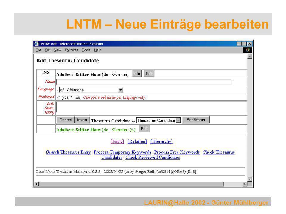 LAURIN@Halle 2002 - Günter Mühlberger LNTM – Neue Einträge bearbeiten