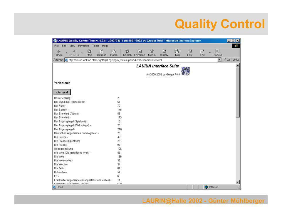 LAURIN@Halle 2002 - Günter Mühlberger Quality Control