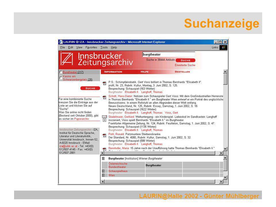 LAURIN@Halle 2002 - Günter Mühlberger Suchanzeige