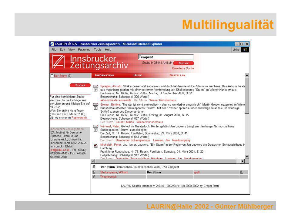 LAURIN@Halle 2002 - Günter Mühlberger Multilingualität