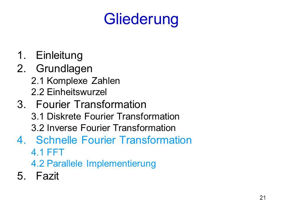 22 Die Idee: Die Matrix-Vektor-Multiplikation soll so ausgeführt werden, dass auf die schon vorhandenen Zwischenergebnisse zurückgegriffen werden kann Hier werden folgende Eigenschaften der primitiven Einheitswurzeln genutzt und 4.1 Fast Fourier Transformation