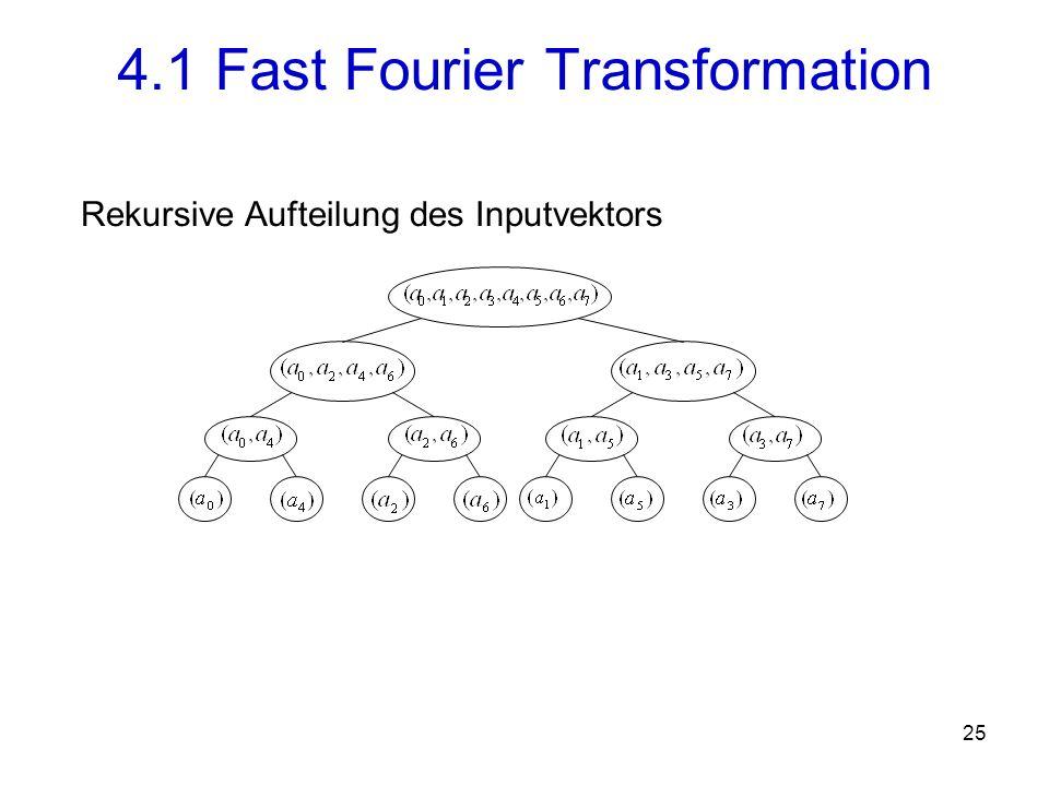 26 Aufgabe: Berechnung der FT von einem Vektor mit n Elementen auf einem Rechner mit p Prozessoren Drei Phasen 1.Austausch von Inputelementen zwischen den Prozessoren 2.Die ersten log(n)-log(p) Iterationsschritte der FFT (parallele Ausführung) 3.Die letzten log(p) Schritte der FFT (Kommunikation zwischen den Prozessoren erforderlich) 4.2 Parallele Implementierung