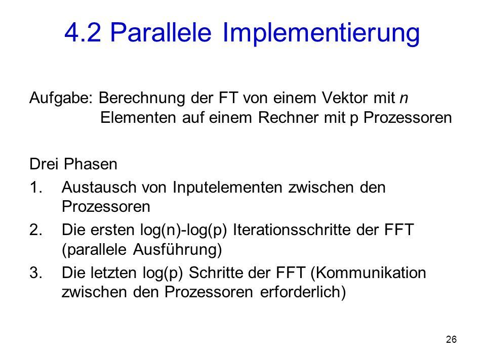 27 Folgende zwei Operationen werden wiederholt: und Graphische Darstellung als Butterfly-Operation: 4.2 Parallele Implementierung