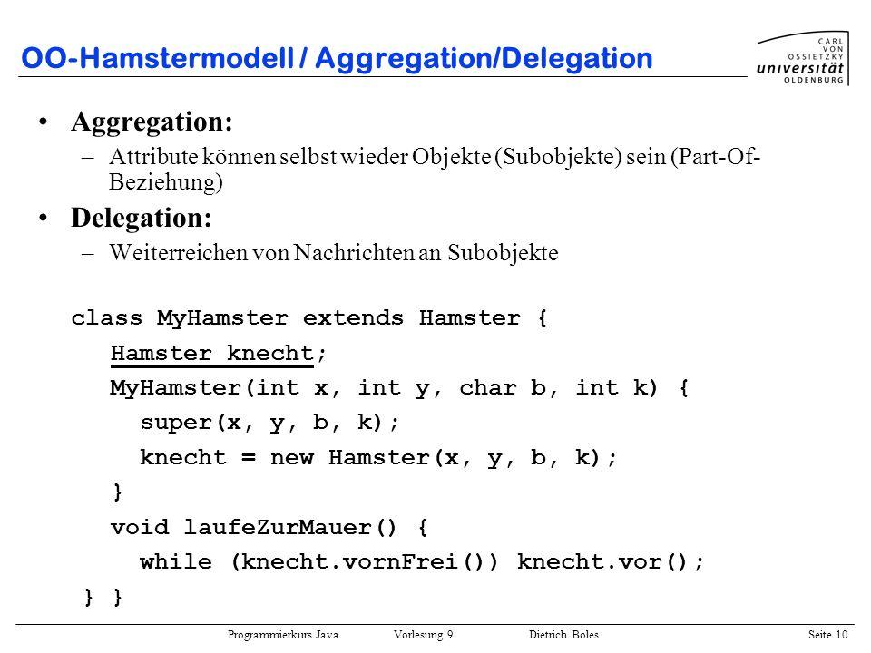 Programmierkurs Java Vorlesung 9 Dietrich Boles Seite 10 OO-Hamstermodell / Aggregation/Delegation Aggregation: –Attribute können selbst wieder Objekt