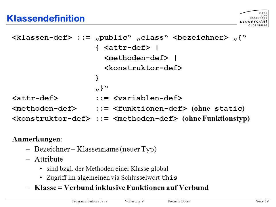 Programmierkurs Java Vorlesung 9 Dietrich Boles Seite 19 Klassendefinition ::= public class { { | | } ::= ::= (ohne static ) ::= (ohne Funktionstyp) A