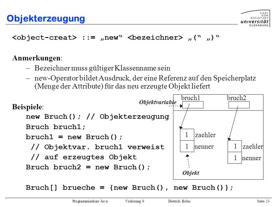 Programmierkurs Java Vorlesung 9 Dietrich Boles Seite 23 Objekterzeugung ::= new ( ) Anmerkungen: –Bezeichner muss gültiger Klassenname sein –new-Oper