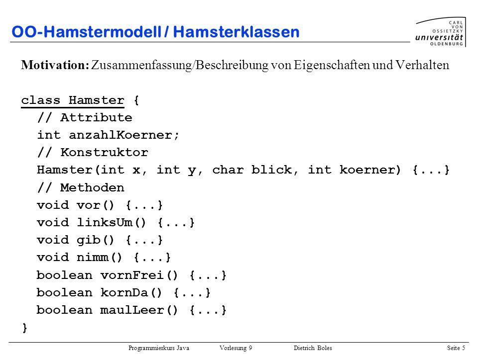 Programmierkurs Java Vorlesung 9 Dietrich Boles Seite 6 OO-Hamstermodell / Hamsterklassen Klassen: –Baupläne für gleichartige Objekte –beschreiben Eigenschaften, Struktur und Verhalten von Objekten –bestehen aus Attributen und Methoden –aus Klassen werden Objekte erzeugt (instantiiert) Attribute: Variablen –repräsentieren Eigenschaften und Struktur (Zustand) von Objekten –alle Objekte einer Klasse besitzen dieselben Attribute –die Werte der Attribute können aber verschieden sein Methoden: Funktionen –realisieren die Operationen, die auf Objekten einer Klasse ausgeführt werden können –definieren das Verhalten von Objekten Konstruktoren: –spezielle Methoden zur Initialisierung von Objekten