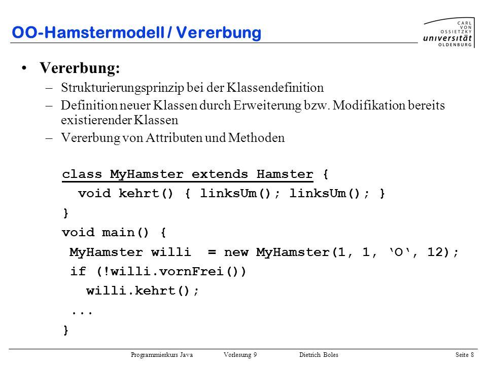 Programmierkurs Java Vorlesung 9 Dietrich Boles Seite 9 OO-Hamstermodell / Polymorphismus Polymorphismus / Dynamisches Binden: –Objektvariablen können auch auf Objekte von Unterklassen referenzieren –Zuordnung von auszuführenden Methoden zur Laufzeit class DummHamster extends MyHamster { void kehrt() { rechtsUm(); rechtsUm(); } void rechtsUm() { linksUm(); linksUm(); linksUm(); } } void main() { MyHamster willi = new MyHamster(1, 1, O, 12); willi.kehrt(); willi = new DummHamster(1, 1, O, 12); willi.kehrt(); }
