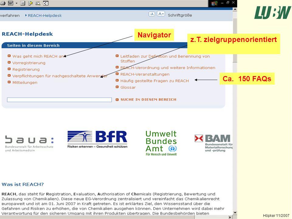 Landesanstalt für Umwelt, Messungen und Naturschutz Baden-Württemberg Höpker 11/2007 Fazit + einfache Gestaltung + Teilweise Zielgruppenorientiert + FAQs + Übersichtlich + teilw.
