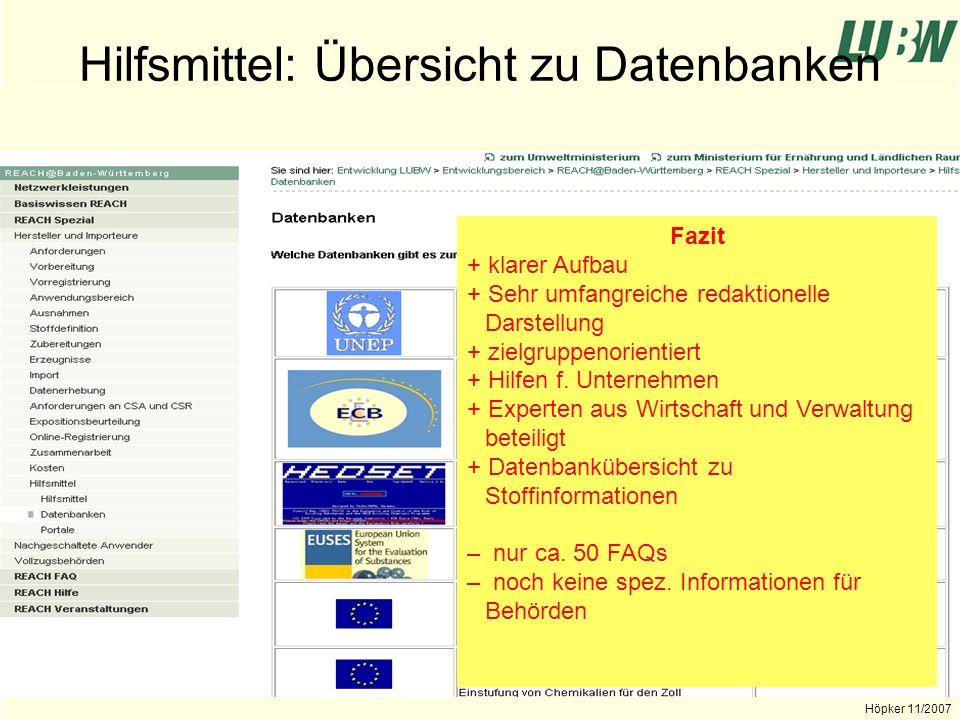 Landesanstalt für Umwelt, Messungen und Naturschutz Baden-Württemberg Höpker 11/2007 Hilfestellungen durch Wirtschaftsorgani- sationen