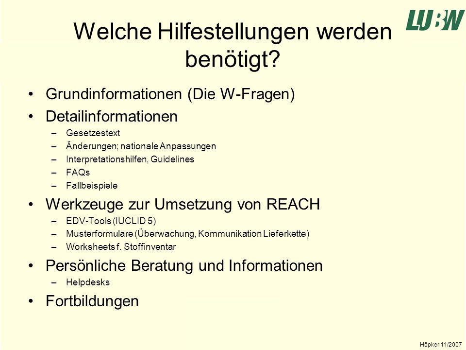 Landesanstalt für Umwelt, Messungen und Naturschutz Baden-Württemberg Höpker 11/2007 Wer kann Hilfestellungen leisten.