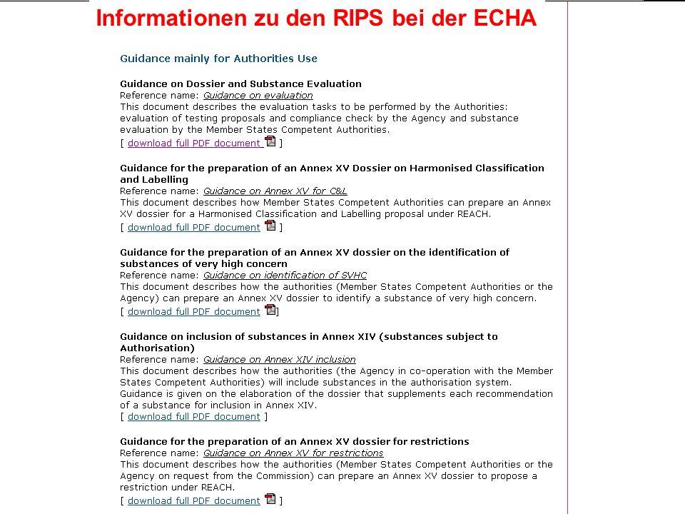 Landesanstalt für Umwelt, Messungen und Naturschutz Baden-Württemberg Höpker 11/2007 REACH Implementation Process RIP RIP1: Beschreibung des REACH-Prozesses RIP 2: REACH IT RIP 3: Leitfäden und Software-Tools für die Industrie, insbes.