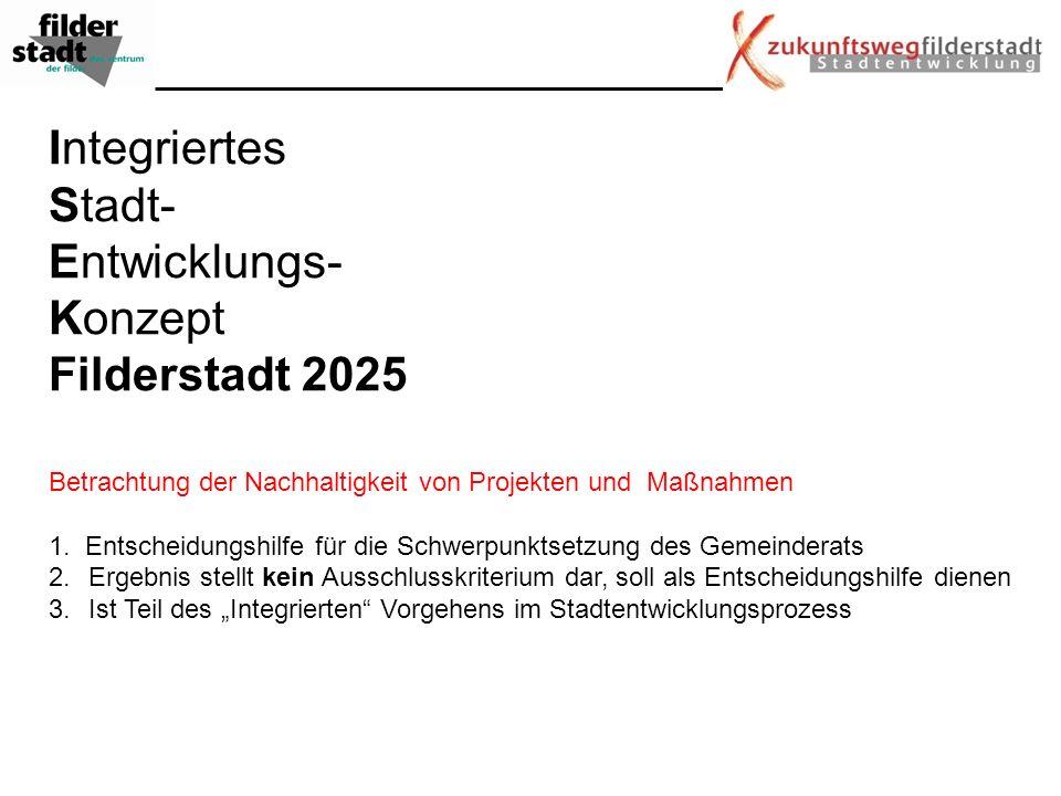 Integriertes Stadt- Entwicklungs- Konzept Filderstadt 2025 Betrachtung der Nachhaltigkeit von Projekten und Maßnahmen 1. Entscheidungshilfe für die Sc