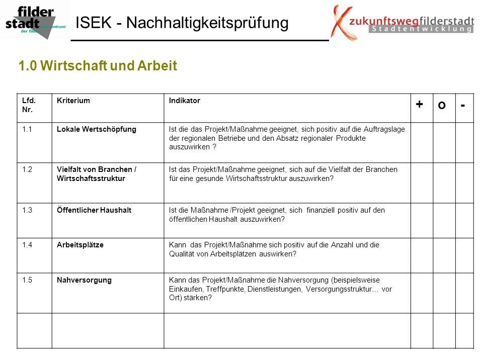 ISEK - Nachhaltigkeitsprüfung 1.0 Wirtschaft und Arbeit Lfd. Nr. KriteriumIndikator +o- 1.1Lokale WertschöpfungIst die das Projekt/Maßnahme geeignet,