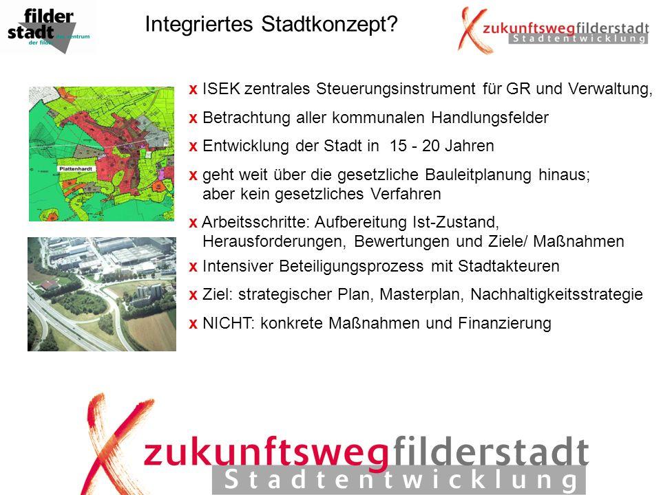 Integriertes Stadtkonzept? x ISEK zentrales Steuerungsinstrument für GR und Verwaltung, x Betrachtung aller kommunalen Handlungsfelder x Entwicklung d