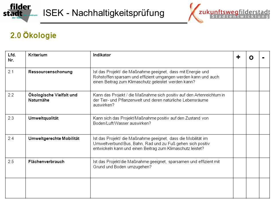 ISEK - Nachhaltigkeitsprüfung 2.0 Ökologie Lfd. Nr. KriteriumIndikator +o- 2.1RessourcenschonungIst das Projekt/ die Maßnahme geeignet, dass mit Energ