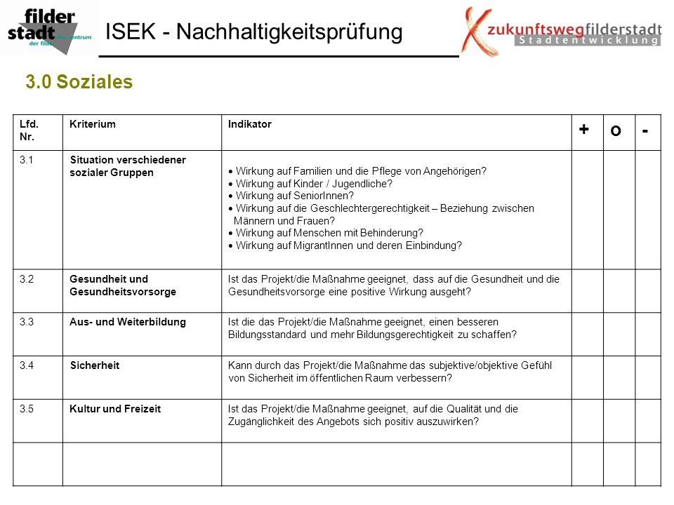ISEK - Nachhaltigkeitsprüfung 3.0 Soziales Lfd. Nr. KriteriumIndikator +o- 3.1Situation verschiedener sozialer Gruppen Wirkung auf Familien und die Pf