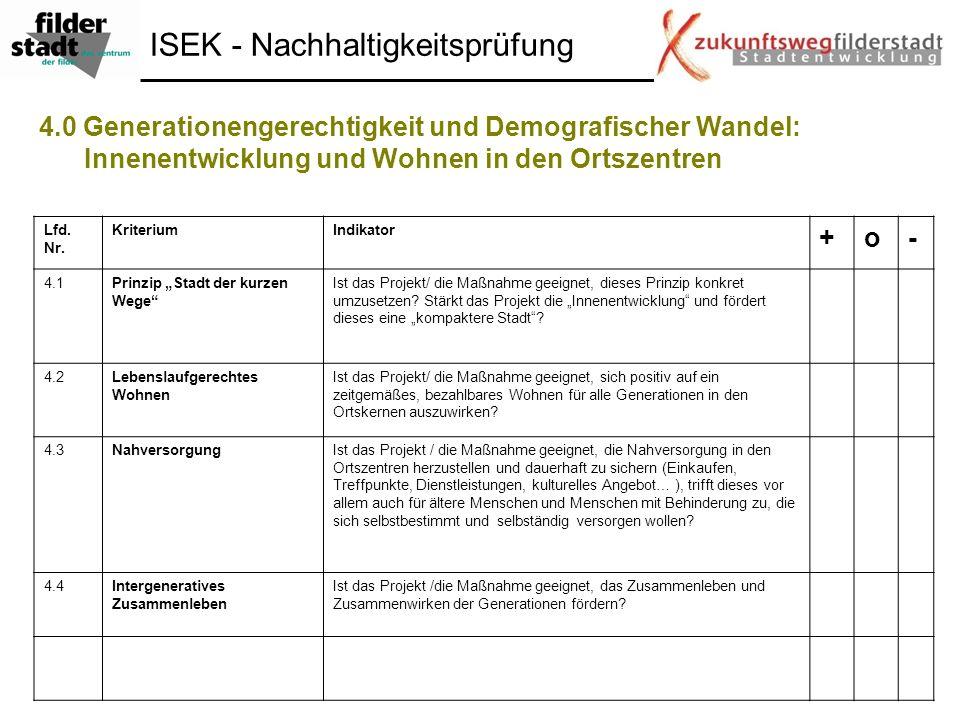 4.0 Generationengerechtigkeit und Demografischer Wandel: Innenentwicklung und Wohnen in den Ortszentren Lfd. Nr. KriteriumIndikator +o- 4.1Prinzip Sta