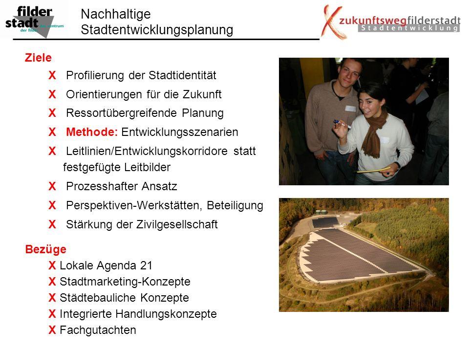 Nachhaltige Stadtentwicklungsplanung Ziele X Profilierung der Stadtidentität X Orientierungen für die Zukunft X Ressortübergreifende Planung X Methode