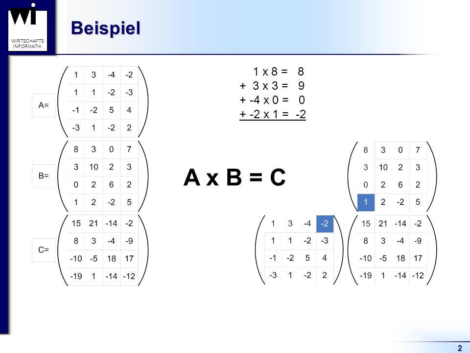 WIRTSCHAFTS INFORMATIKBeispiel 2 A x B = C 1 x 8 = 8 + 3 x 3 = 9 + -4 x 0 = 0 + -2 x 1 = -2 = 15