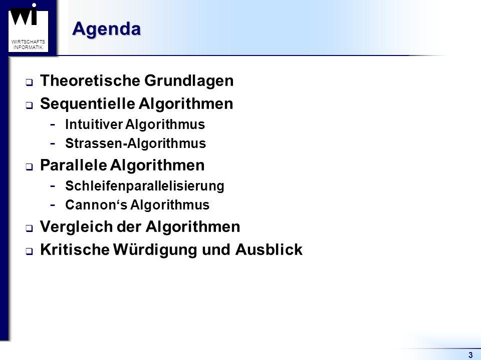 WIRTSCHAFTS INFORMATIKAgenda Theoretische Grundlagen Sequentielle Algorithmen  Intuitiver Algorithmus  Strassen-Algorithmus Parallele Algorithmen  Schleifenparallelisierung  Cannons Algorithmus Vergleich der Algorithmen Kritische Würdigung und Ausblick 3