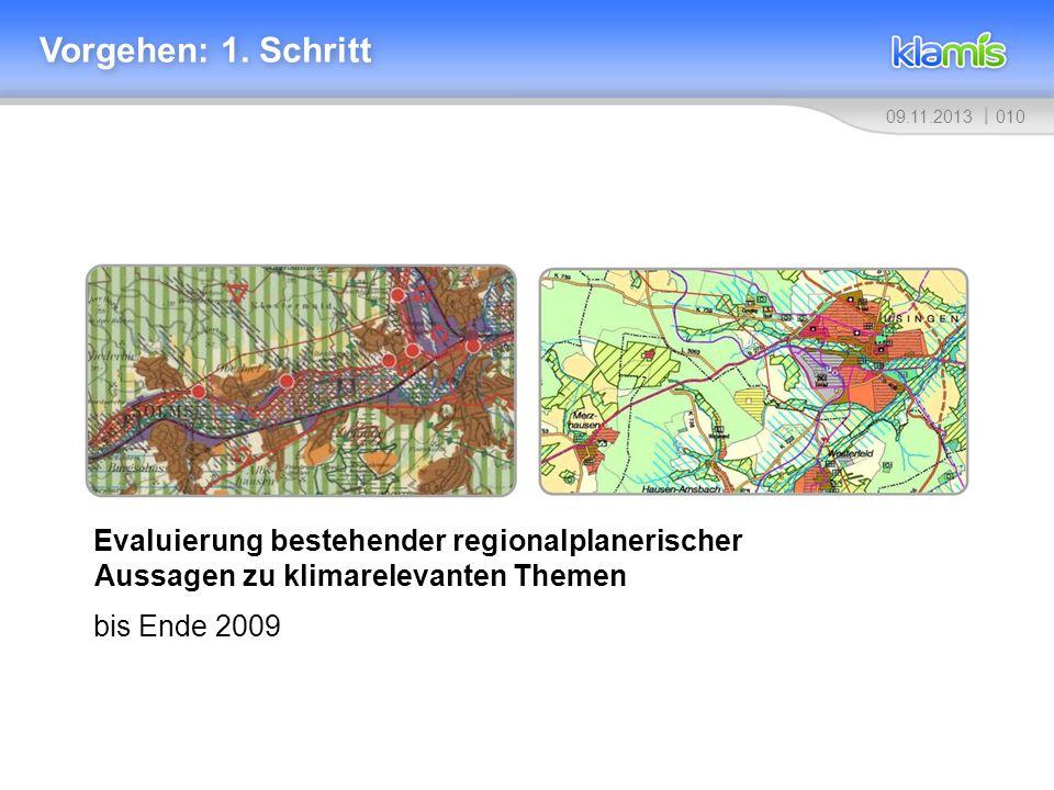 01009.11.2013 Vorgehen: 1. Schritt Evaluierung bestehender regionalplanerischer Aussagen zu klimarelevanten Themen bis Ende 2009