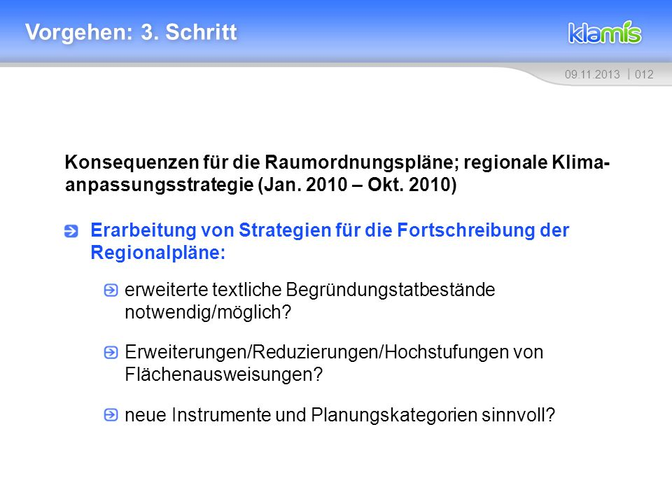 01209.11.2013 Vorgehen: 3. Schritt Konsequenzen für die Raumordnungspläne; regionale Klima- anpassungsstrategie (Jan. 2010 – Okt. 2010) Erarbeitung vo