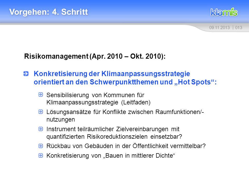 01309.11.2013 Vorgehen: 4. Schritt Risikomanagement (Apr. 2010 – Okt. 2010): Konkretisierung der Klimaanpassungsstrategie orientiert an den Schwerpunk