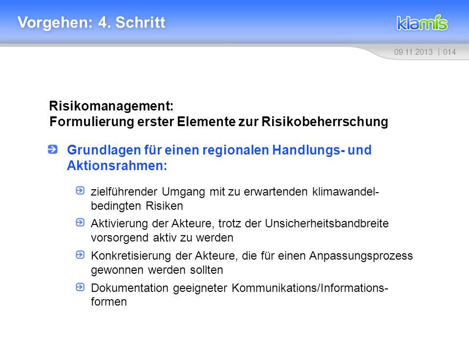 01409.11.2013 Vorgehen: 4. Schritt Risikomanagement: Formulierung erster Elemente zur Risikobeherrschung Grundlagen für einen regionalen Handlungs- un