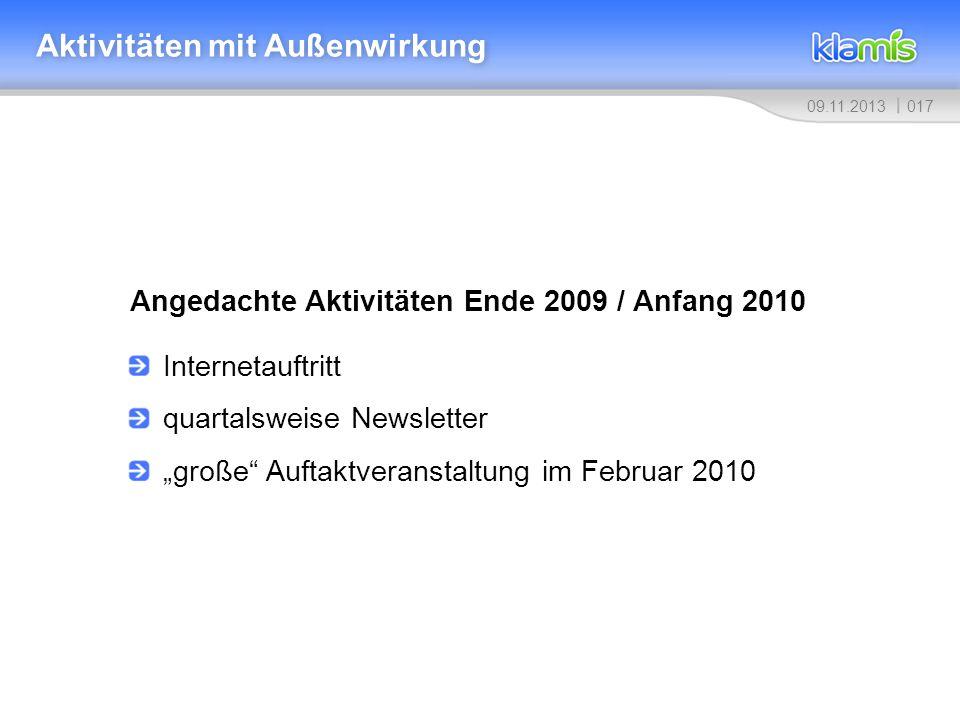 01709.11.2013 Aktivitäten mit Außenwirkung Angedachte Aktivitäten Ende 2009 / Anfang 2010 Internetauftritt quartalsweise Newsletter große Auftaktveran