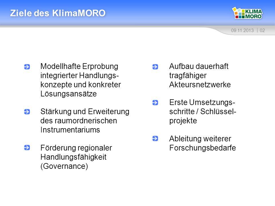 0309.11.2013 Lage der acht Modellregionen 1 Vorpommern 2 Havelland-Fläming 3 Westsachsen 4 Oberes Elbtal/Osterzgebirge 5 Mittel- und Südhessen 6 Oberrhein/Nordschwarzwald 7 Stuttgart 8 Neumarkt