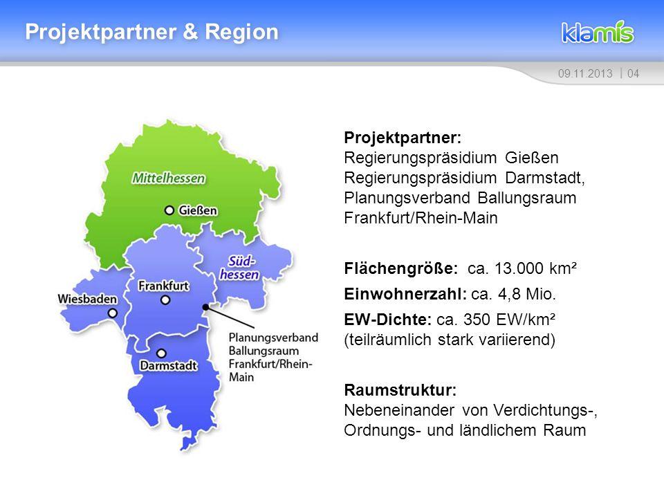 0409.11.2013 Projektpartner & Region Projektpartner: Regierungspräsidium Gießen Regierungspräsidium Darmstadt, Planungsverband Ballungsraum Frankfurt/