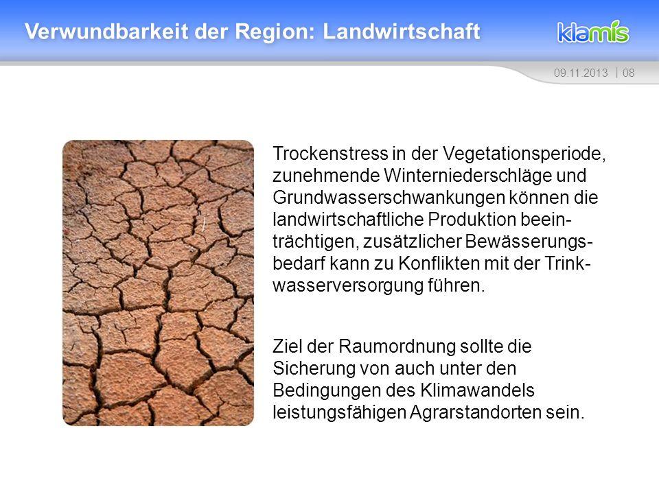 0809.11.2013 Verwundbarkeit der Region: Landwirtschaft Trockenstress in der Vegetationsperiode, zunehmende Winterniederschläge und Grundwasserschwanku