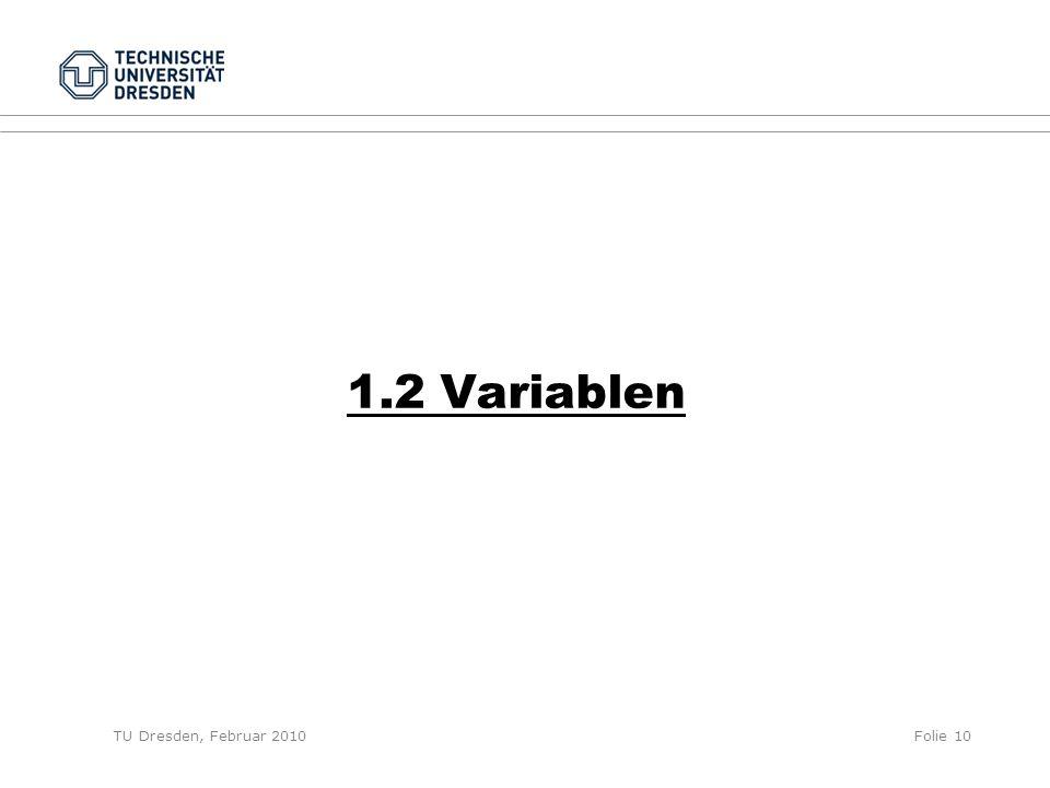 TU Dresden, Februar 2010Folie 10 1.2 Variablen