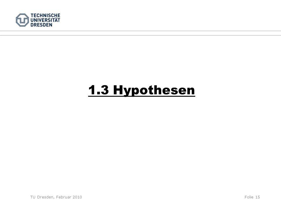 TU Dresden, Februar 2010Folie 15 1.3 Hypothesen