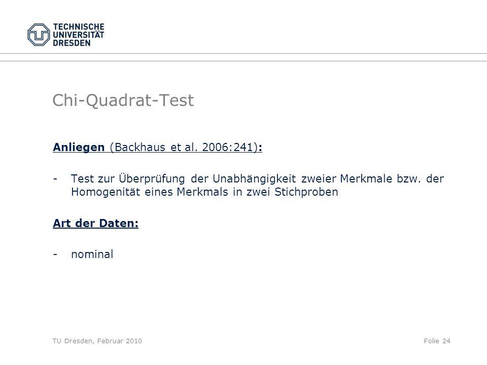 TU Dresden, Februar 2010Folie 24 Chi-Quadrat-Test Anliegen (Backhaus et al. 2006:241): - Test zur Überprüfung der Unabhängigkeit zweier Merkmale bzw.