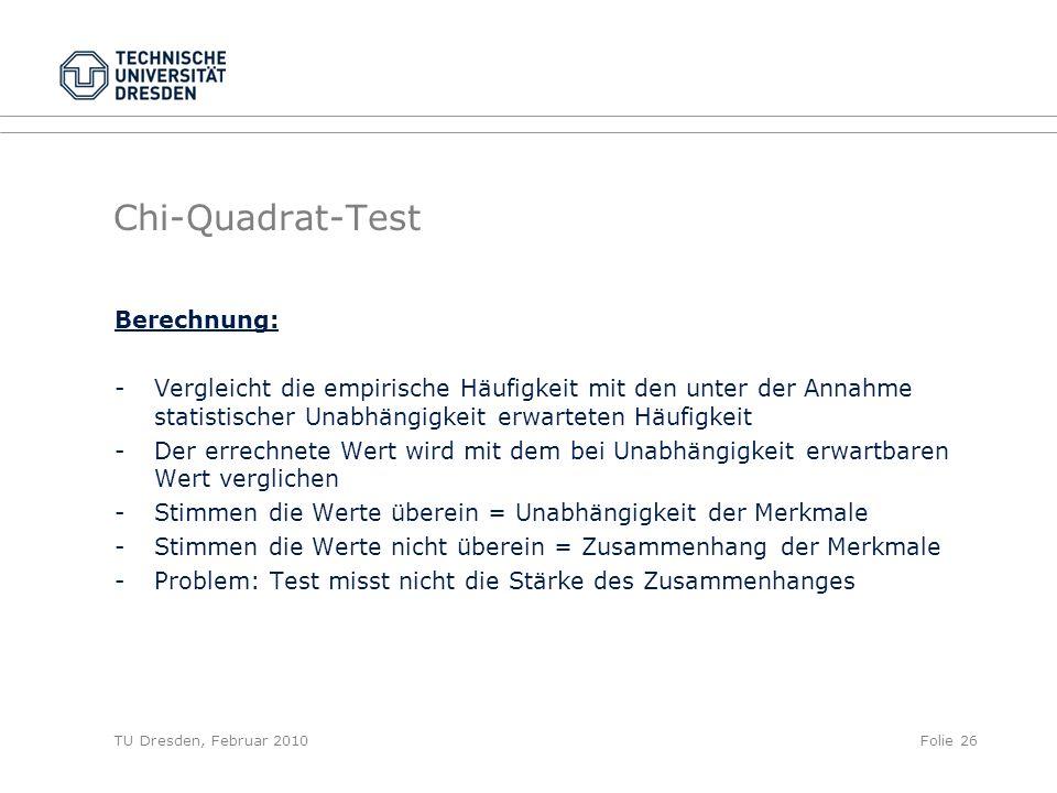 TU Dresden, Februar 2010Folie 26 Chi-Quadrat-Test Berechnung: - Vergleicht die empirische Häufigkeit mit den unter der Annahme statistischer Unabhängi
