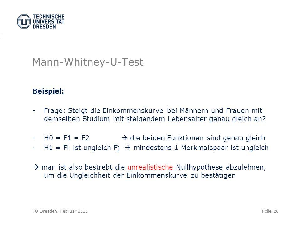 TU Dresden, Februar 2010Folie 28 Mann-Whitney-U-Test Beispiel: -Frage: Steigt die Einkommenskurve bei Männern und Frauen mit demselben Studium mit ste
