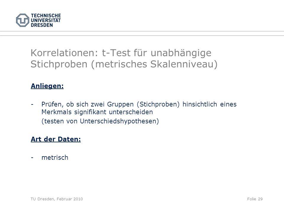 TU Dresden, Februar 2010Folie 29 Korrelationen: t-Test für unabhängige Stichproben (metrisches Skalenniveau) Anliegen: -Prüfen, ob sich zwei Gruppen (