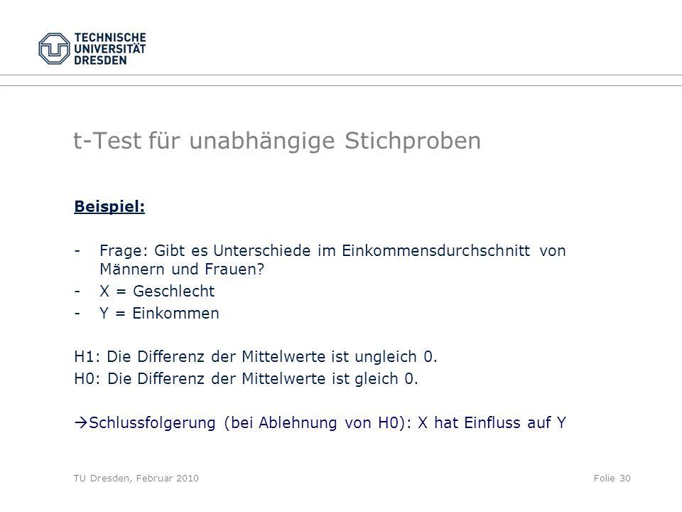 TU Dresden, Februar 2010Folie 30 t-Test für unabhängige Stichproben Beispiel: - Frage: Gibt es Unterschiede im Einkommensdurchschnitt von Männern und